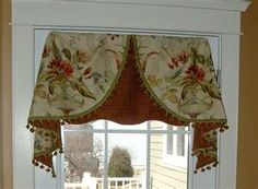 Love the two fabric valance idea - for the sewing room?