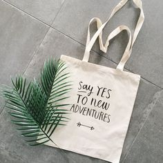 Cotton canvas cheap tote bag say yes to new by elkedagelbrich