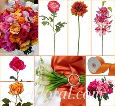 #orange wedding #fuchsia #afloral http://blog.afloral.com/inspiration-boards/stephanies-fuchsia-and-orange-wedding-flower-inspiration-board/
