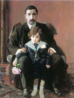 Filonov, Pavel (1883-1941) - 1915  Portrait of  Franzevich Aziiber with his Son