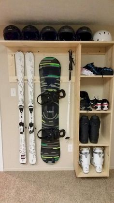 and Snowboard Storage This will be in my house when I grow up! Ski and Snowboard Storage This will be in my house when I grow up! Snowboarden Ski and Snowboard Storage This will be in my house when I grow up! Garage Organization Tips, Garage Storage Solutions, Diy Garage Storage, Storage Hacks, Storage Ideas, Clothes Storage, Wall Storage, Kayak Storage, Basement Storage