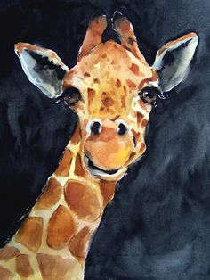 Watercolor giraffe selfie