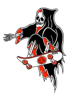 The Grim Reaper Skateboarding discovered by amyjames Skateboard Tattoo, Skate Tattoo, Skateboard Art, Tattoo Sketches, Tattoo Drawings, Art Drawings, La Muerte Tattoo, Dope Kunst, Grim Reaper Tattoo