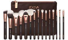 Makeup Pinselset von ZOEVA: aus Echthaar-Synthetik-Mix und veganem Taklon-Haar | 15 Augenpinsel + praktische Pinseltasche | Rose Golden Design | Jetzt online bestellen! #ZOEVA