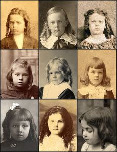 Help w/ ID old photos.  Boys often wore their hair in long ringlets or curls, sometimes even with hair ribbons. If it's parted on the side, it's a boy; if it's parted in the center, it's usually a girl.  (Boy, boy, girl; boy, boy, boy; boy, girl, girl) http://houseofmirthphotos.blogspot.com/2011/05/wow-boy-in-dress-by-pat-street.html
