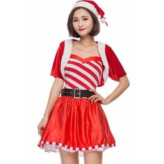 Red Velvet Satin Candy Cane Dress Cute Christmas Costume ($36) ❤ liked on Polyvore featuring costumes, christmas costumes, red halloween costumes, christmas party costumes, party costumes and satin costume