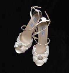 Alencon Lace 3.5 inch Wedge Heel Wedding Shoes by YvesBellaBrides