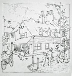 The drawing that became the watercolour of Bags of Books independent children's bookshop in Lewes, East Sussex, UK by Lyndsey Smith.