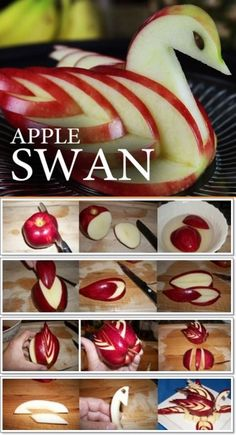 Apple Cutting Hack - 5 Apple Cut Tutorials Apple Cutting Hack - 5 Apple Cut Tutorials <br> These ideas of serving apples will surely catch your guests eyes, even little ones. Swan layout Crab layout ---- More DIY Ideas ---- puzzle Hello Kitty Rabbit Fruit Decorations, Food Decoration, Food Crafts, Diy Food, Food Tips, Cooking Tips, Food Hacks, Food Food, Cooking Recipes