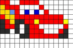 Lightning McQueen Perler bead pattern- something I'm going to make for my little brother :3