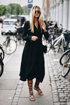 Do the gladiator sandals go with a long dress? Yes, of course they do. Via Nina-Victoria Suess