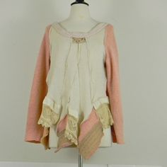 """Sense and Sensibility"" tunic, made from vintage cashmere, lace exposed seams. From do-over clothes. Smart!"