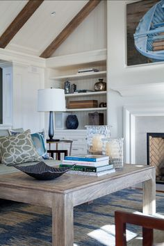 Coastal Decor. The living room embraces a coastal-chic motif, inspired by the gorgeous ocean view. #CoastalDecor
