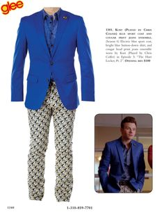 """Kurt (Played by Chris Colfer) blue sport coat and cougar print jeans ensemble. (Season 6) Electric blue sport coat, bright blue button-down shirt, and cougar head print jeans ensemble worn by Kurt (Played by Chris Colfer) in Episode 5: """"The Hurt Locker, Pt. 2"""""""