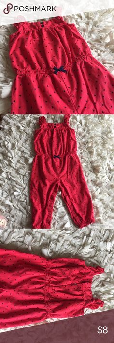 """Romper with blue hearts Adorable romper! Red with blue hearts and bow at waist. Elastic waist. Snaps on legs and back of neck. So cute with a sweater. Perfect for Spring!  🍭🍬25% off all kids bundles!!🍬🍭 Click """"ADD TO BUNDLE"""" button on all the items you are interested in.  Make offer for 25% less on the bundle and I will ACCEPT! Carter's One Pieces Bodysuits"""