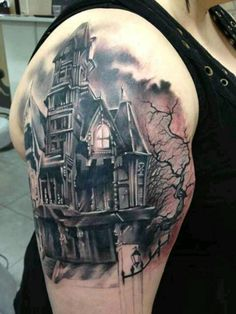 Haunted House tattoo ***** http://activelifeessentials.com/body-canvas/ #bodyart #tattoos
