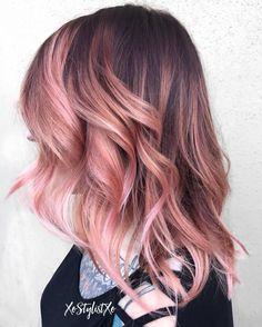 Pastel Pink Balayage For Brown Hair