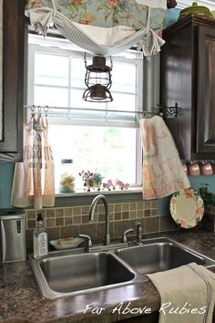 Vintage feed sacks become cafe curtains :: Hometalk