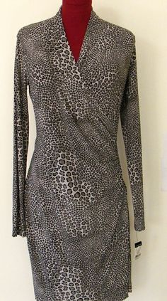 Norma Kamali Dress Black Leopard Print Size 14 Faux Wrap Draped Bodice Slimming #NormaKamali #WrapDress #Casual
