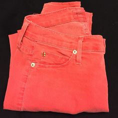 Red Hudson Stretchy Skinny Jeans These are preloved and have a few loose stitches and a few really faded spots from wear. Pricing reflects these things. Hudson Jeans Jeans Skinny