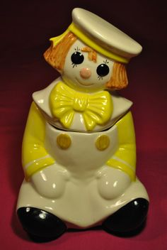 Metlox Raggedy Andy Poppytrail Cookie Jar in Yellow - also comes in blue