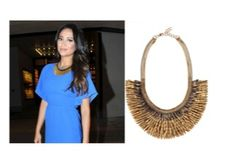 Shay Mitchell looks stunning in the Pegasus Necklace. This collar style necklace combines so well with her blue dress.
