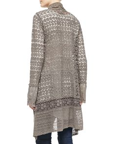 Johnny Was Collection Jace Printed Silk Scarf, Lacy Crochet Jacket & Vintage Georgette V-Neck Top