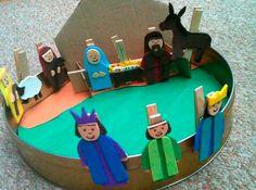 Clothes Pin Nativity Set for Sunday School. All Play On Sunday: Birth of Jesus Play Preschool Christmas, Christmas Nativity, Noel Christmas, Christmas Activities, A Christmas Story, All Things Christmas, Christmas Crafts, Jesus Crafts, Bible Story Crafts