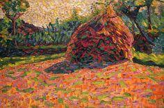 Umberto Boccioni (It, - Pagliaio al sole - 1908 - Collezione privata Umberto Boccioni, Italian Futurism, Reggio Calabria, Italian Painters, Italian Art, Landscapes, Pastel, Rainbow, Paintings