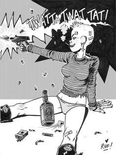 TANK GIRL - Sunday morning coming down! Finally got around to adding some tone on this illo. Happy New year one and all! XXX Love'n tanks Rufus Tank Girl Comic, Jamie Hewlett Art, Estilo Punk Rock, Jet Girl, Character Art, Character Design, Cyberpunk Art, Girl Inspiration, Gorillaz