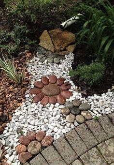 Beautiful front yard rock garden landscaping ideas DIY Garden Yard Art When growing your own la Landscaping With Rocks, Front Yard Landscaping, Landscaping Ideas, Walkway Ideas, Rock Walkway, Backyard Ideas, Rock Yard, Gardening With Rocks, Diy Garden Ideas On A Budget
