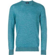Drumohr crew neck jumper (16.410 RUB) ❤ liked on Polyvore featuring men's fashion, men's clothing, men's sweaters, blue, mens crewneck sweaters, mens crew neck sweaters, mens blue sweater and mens crew sweater