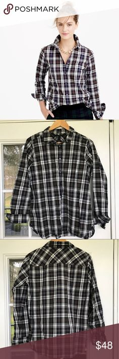 JCREW shrunken boy shirt in forest plaid - 12 JCREW shrunken boy shirt in forest plaid - 12 J. Crew Tops Button Down Shirts