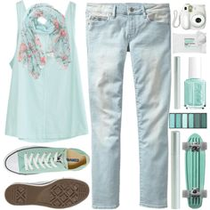 Converse :) by berina-2000 on Polyvore featuring polyvore, fashion, style, Gap, Converse, With Love From CA, J.Crew, Sephora Collection, Essie, Branca, KEEP ME, Summer, simple, converse, jeans and mintgreen