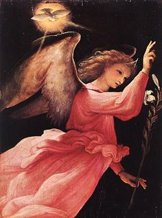 Angel annunciating - Lorenzo Lotto   circ. 1527   Church of St.Vincent and Alexander.  Ponteranica, Italy