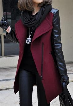 Womens Red Woolen Leatherette Knee Length Slim Trench Coat