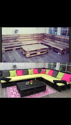 Pallets furniture! A comfortable couch made of pallets :)