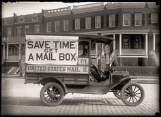 Got a Mail Box? Post Office Department Mail Wagon, photographed by Harris & Ewing in 1916 on 5x7 glass plate negative.
