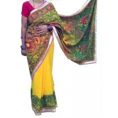 Mukti Art Gallery Saree painted with Mithila Painting