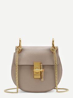 208911a3c1 Saddle Bag With Chain -SheIn(Sheinside) Crossbody Saddle Bag, Brown  Crossbody Purse
