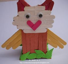 Cards ,Crafts ,Kids Projects: Popsicle Stick Craft Tutorial- Ladybird and Owl