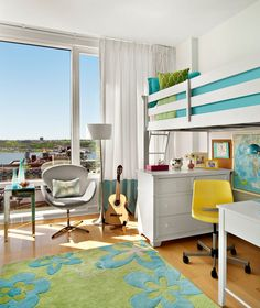 Bright colors and a lofted bunk bed are great ways to maximize space in a child or teenager's bedroom.