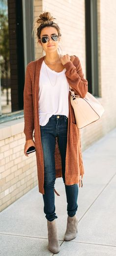 #fall #outfits women's brown cardigan and blue skinny jeans