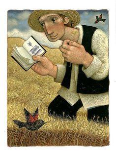 Checking the harvest / Comprobando la cosecha (ilustración de Matthew Trueman)
