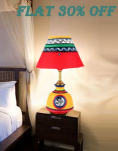 Light up your room with unique terracotta round matki lamp handpainted to add beautiful colors to your life with special 30% off. Order now! www.indikala.com