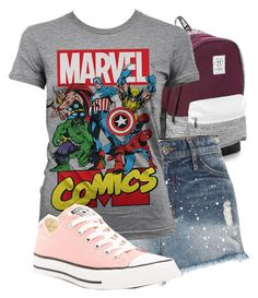 """""""Park Trip #44"""" by basic-disney ❤ liked on Polyvore featuring Victoria's Secret, River Island, Marvel Comics and Converse"""
