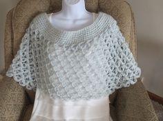 Crochet Cape Shawl Capelet Wrap in light grey by Bluetulipgifts, $32.99