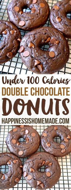 These better-for-you double chocolate zucchini donuts are under 100 calories each! A moist and rich chocolaty indulgence that won't blow your diet! (Healthy Snacks Under 100 Calories) Healthy Donuts, Healthy Deserts, Healthy Sweets, Healthy Dessert Recipes, Healthy Baking, Delicious Desserts, Healthy Breakfasts, Vegan Recipes Easy, Eating Healthy