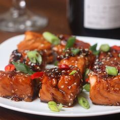 Teriyaki salmon bites by tasty salmon bites recipe, salmon recipe videos,. Salmon Recipes, Seafood Recipes, Appetizer Recipes, Chicken Recipes, Dinner Recipes, Dinner Menu, Food Network Recipes, Cooking Recipes, Healthy Recipes