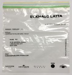 "ericwrennoffice: ""Eckhaus Latta AW16 Invitations. Screen print on one gallon Ziploc bag. Sent sealed with a shorn tuft of hair from Zoe Latta's dog Goose. """